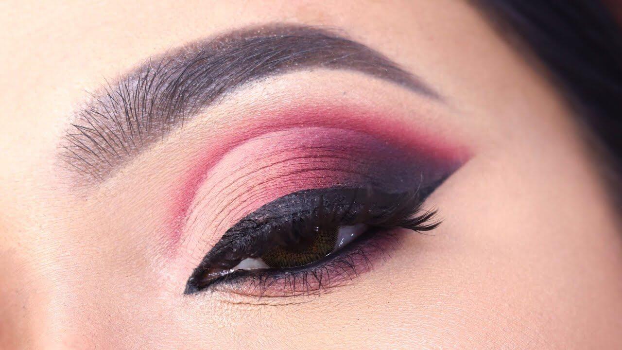 Deep Red Crease Eye Makeup