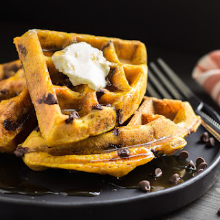 Overnight Yeasted Pumpkin Chocolate Chip Waffles