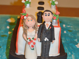 Novelty canal boat wedding cake