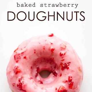 Baked Strawberry Doughnuts.