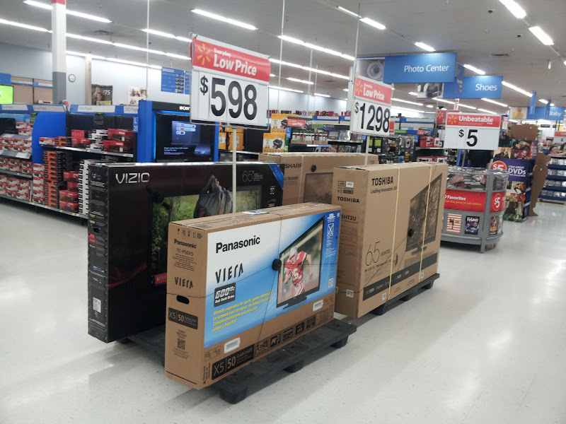Photo: I always think it's kind of weird to see TVs in the middle of the aisles. I picture some kid crashing into them with a runaway shopping cart.