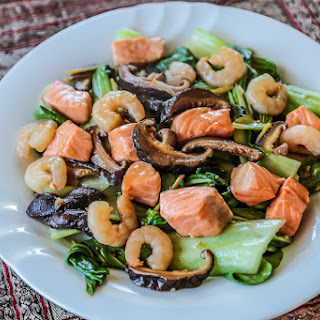 Bok Choy, Shrimp and Salmon Stir Fry.