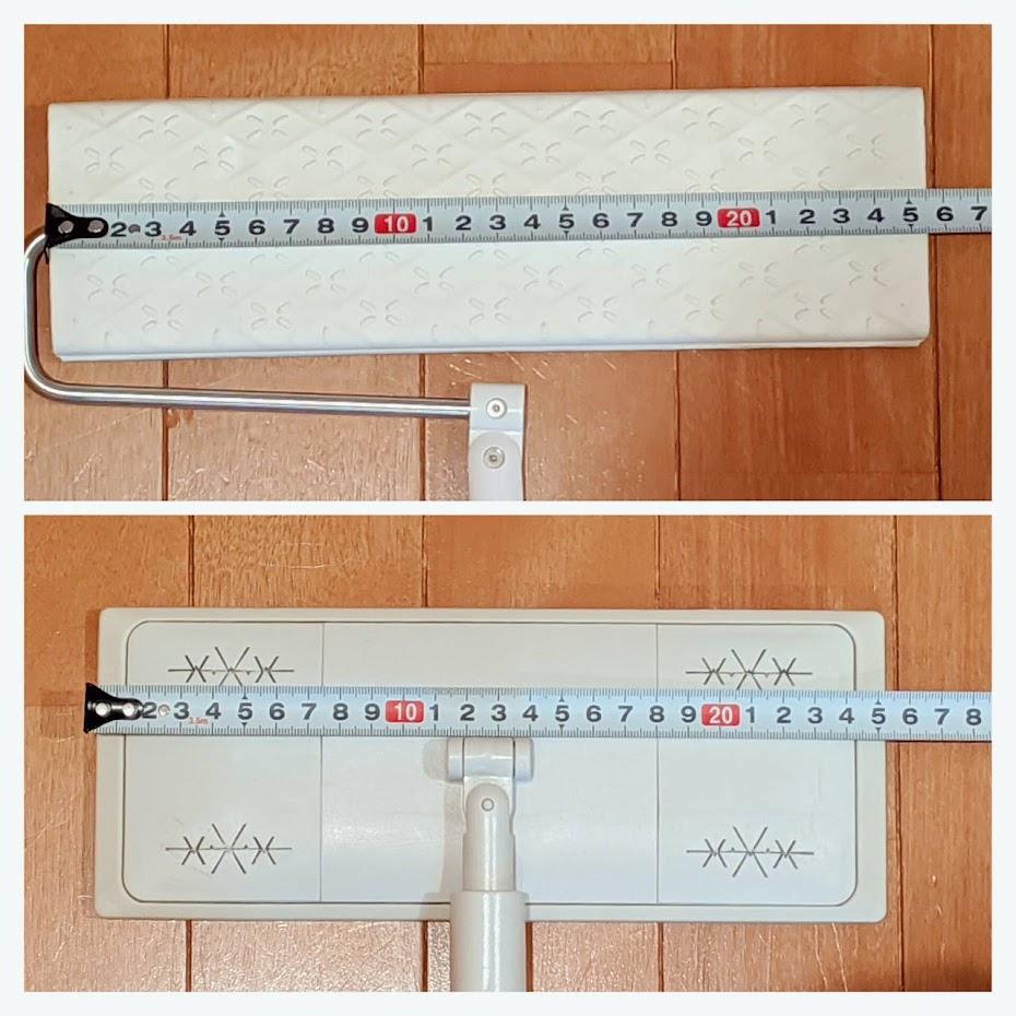 上段 ウェーブのヘッドの横幅をメジャーで測った図、下段無印のヘッドを測った図