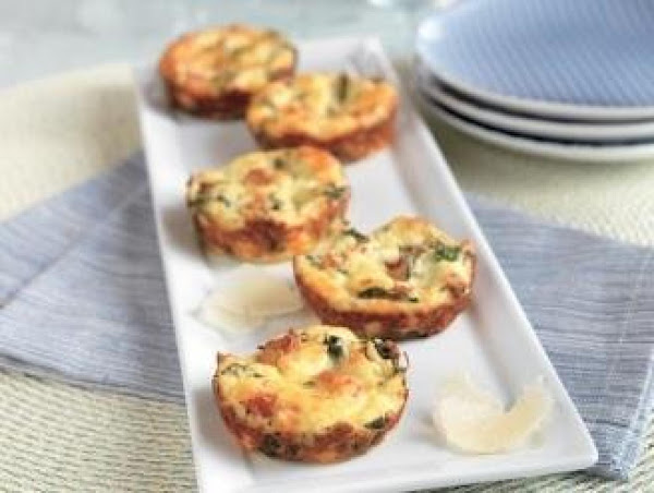 Mini Crustless Spinach And Bacon Quiches Recipe