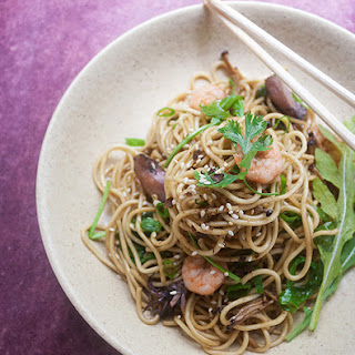 Sesame Soba Noodles with Arugula and Enoki Mushroom.
