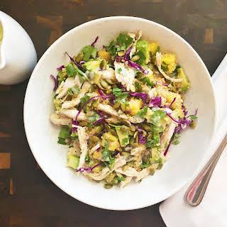 Quinoa Mango Avocado Chicken Salad with Coconut Lime Dressing.