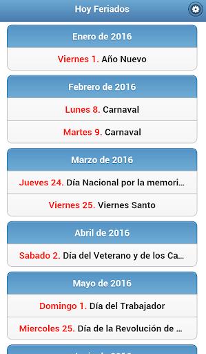 Hoy Feriados Argentina 2016