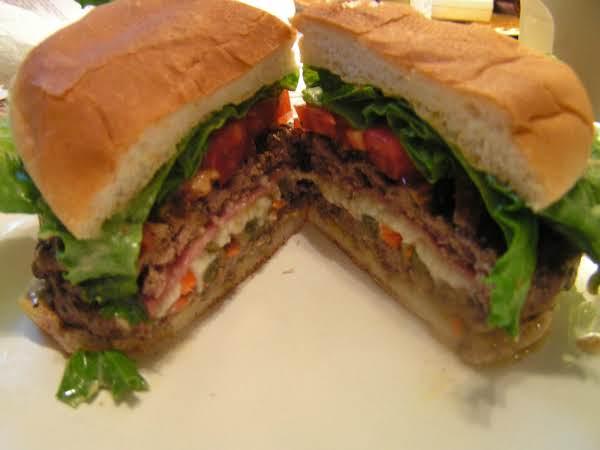 Muffuletta Stuffed Burger