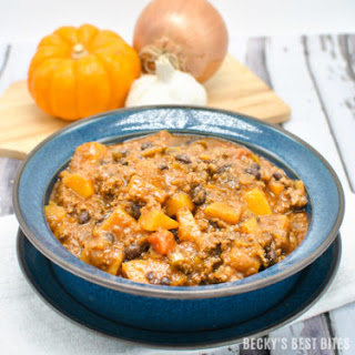 Butternut Squash, Black Bean and Beef Chili.