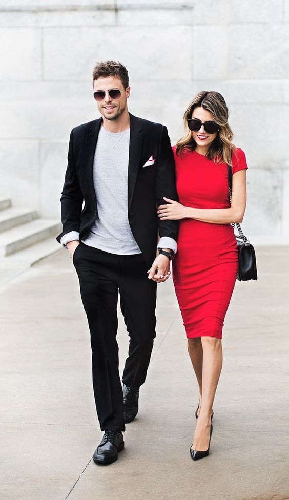 man and woman in cocktail attire