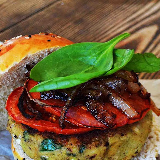 Spinach Feta Veggie Burgers with Crispy Fried Onions and Roasted Tomatoes