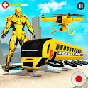 Flying School Bus Robot: Hero Robot Games icon