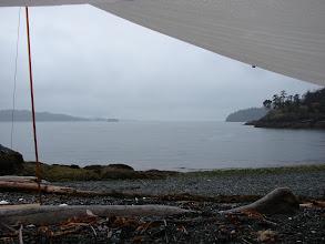 Photo: A rainy morning under the tarp on Texada Island.