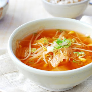 Kimchi Kongnamul Guk (Soybean Sprout Soup with Kimchi).