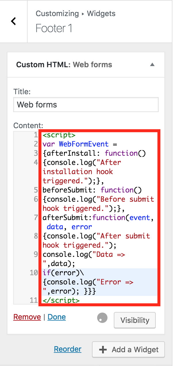 How to customize Web forms to trigger custom events