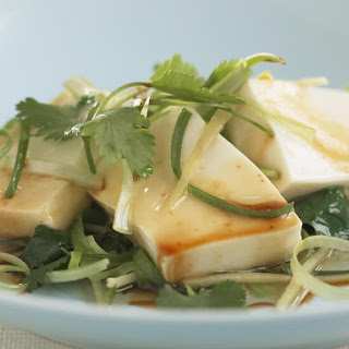 Steamed Tofu with Cilantro.