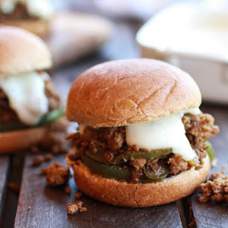 20 Minute Chicken Cheesesteak Sloppy Joe Sliders