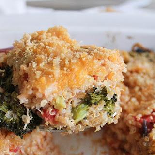 Roasted Broccoli, Chicken and Cheddar Quinoa Bake.