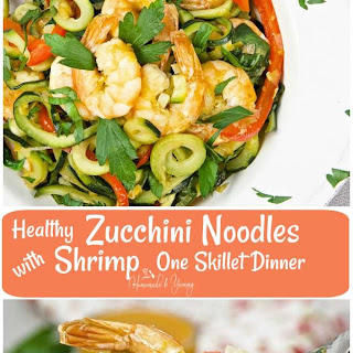 Healthy Zucchini Noodles with Shrimp One Skillet Dinner.