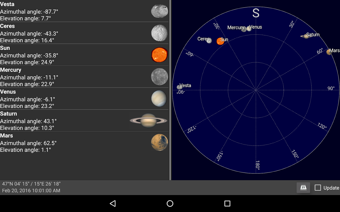 position of moon and planets - photo #7