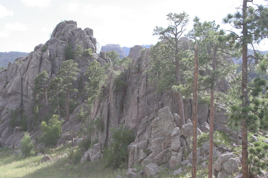 This overexposed picture of rock formations is actually one of te ones we climbed to the top of!