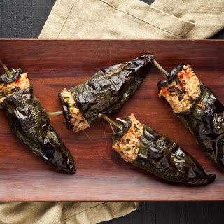 Stuffed Poblano Peppers with Black Beans and Cheese.