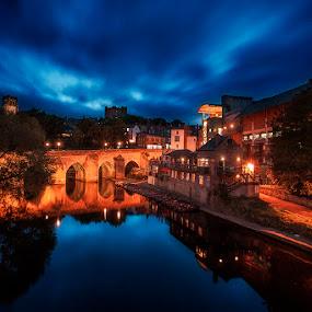 Durham City at Night by Ian Taylor - City,  Street & Park  Night ( durham, reflection, centre, tourism, elvet, historic, city, blue, bridge, gold, town, evening, wear, golden, river )
