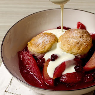 Pear and Cranberry Cobbler with Citrus-Infused Custard Sauce