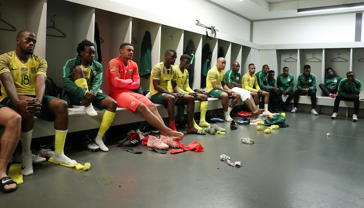 Danny Jordaan, SAFA President talking to South Africa players in the change room during the 2019 African Cup of Nations match between South Africa and Seychelles at the FNB Stadium, Johannesburg on 13 October 2018.