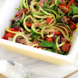 Italian Zucchini Pasta Recipe with Cherry Tomatoes and Basil