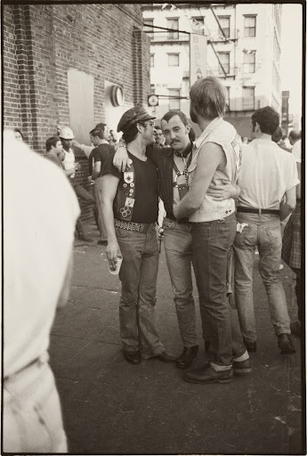 Bars '78, telephoto of boy in chaps, *leatherman sniffing amyl