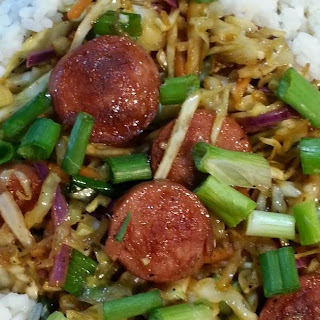 Skillet Garlic Sausage and Cabbage with Rice.