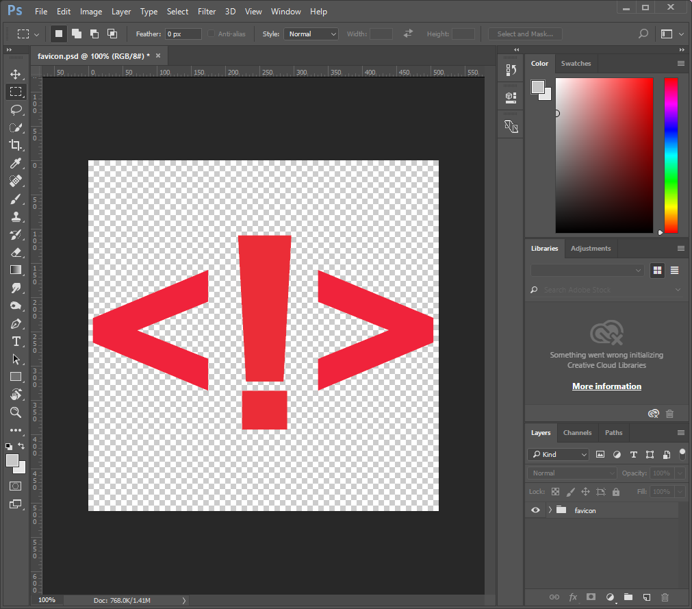 favicon illustration on Adobe Photoshop