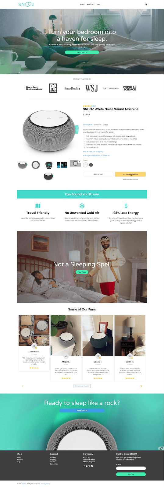 one product shopify store design