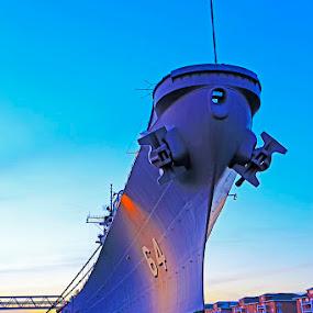 USS Wisconsin (BB-64) in twilight by Shixing Wen - Transportation Boats ( uss wisconsin (bb-64), twilight, norfolk, twilight photography, virginia, battleship )