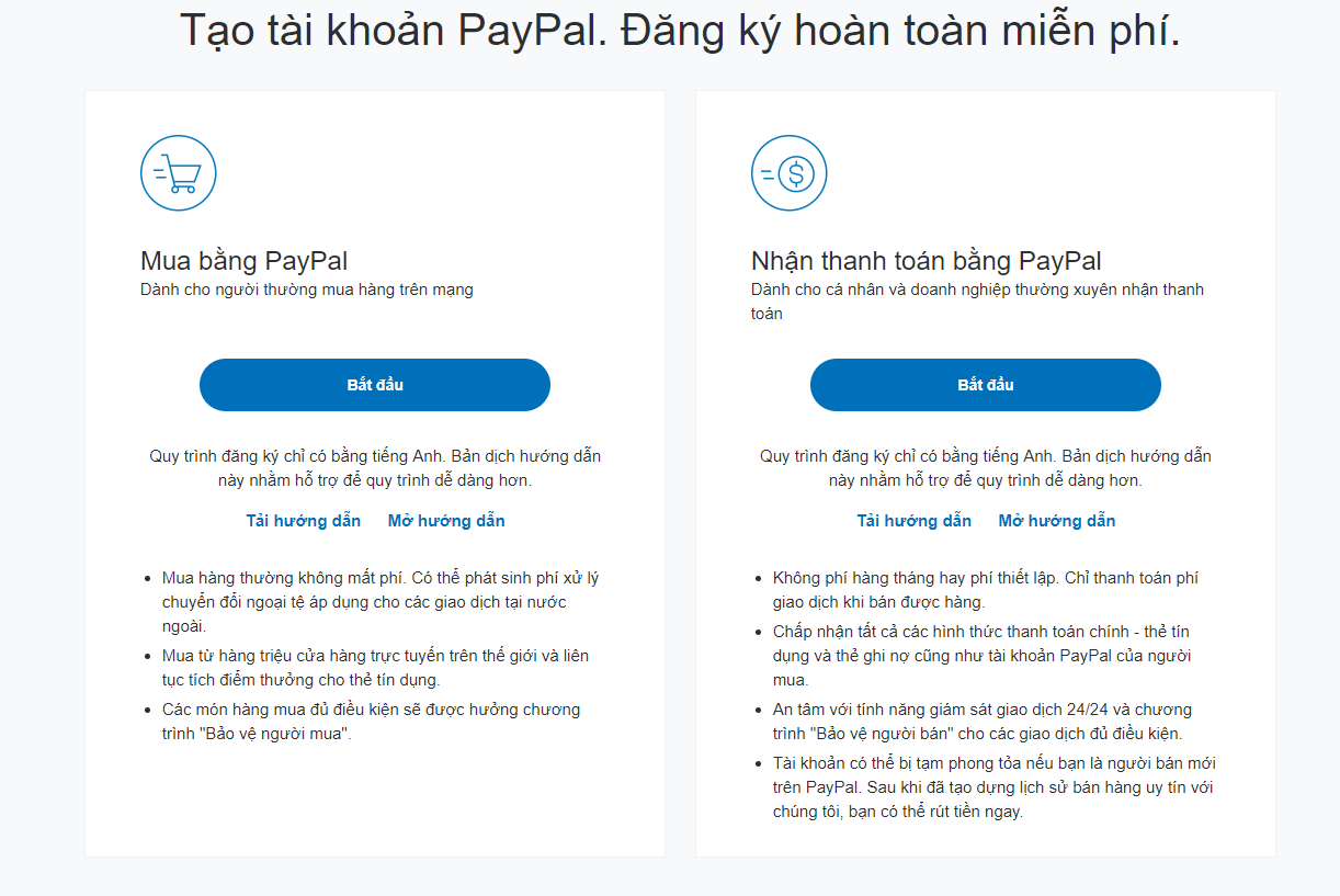 Tạo tài khoản Paypal.