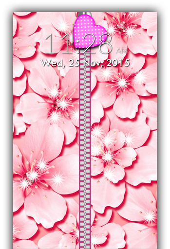 Pink Zipper Lock Screen
