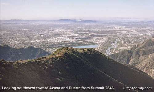 Photo: View southwest toward Azusa and Duarte from Summit 2843