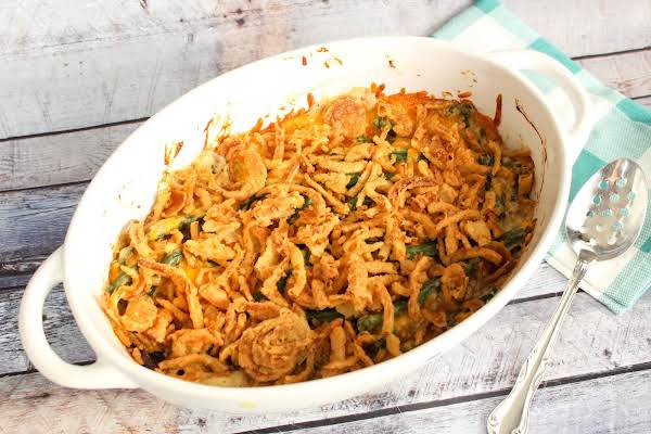 Fresh Green Bean Casserole Ready To Be Served.