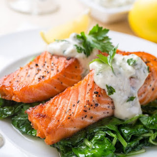 Grilled Salmon with Cream Sauce.