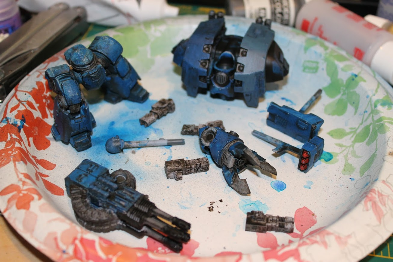 All the parts of the dreadnought, painted
