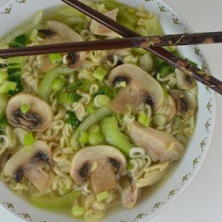 Chicken, Bok Choy and Mushroom Ramen Soup.