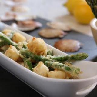 Tempura Scallops And Asparagus With Ponzu Dressing.
