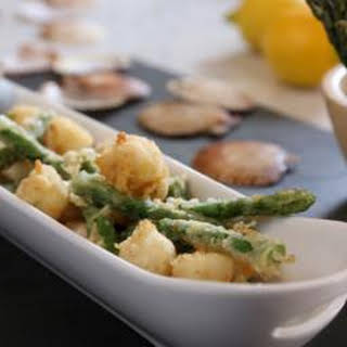 Tempura Scallops And Asparagus With Ponzu Dressing.