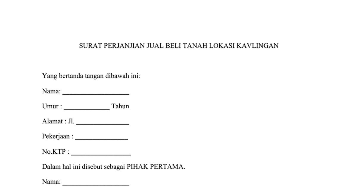 Surat Perjanjian Jual Beli Kredit Tanah Lokasi Kavlingan Docx