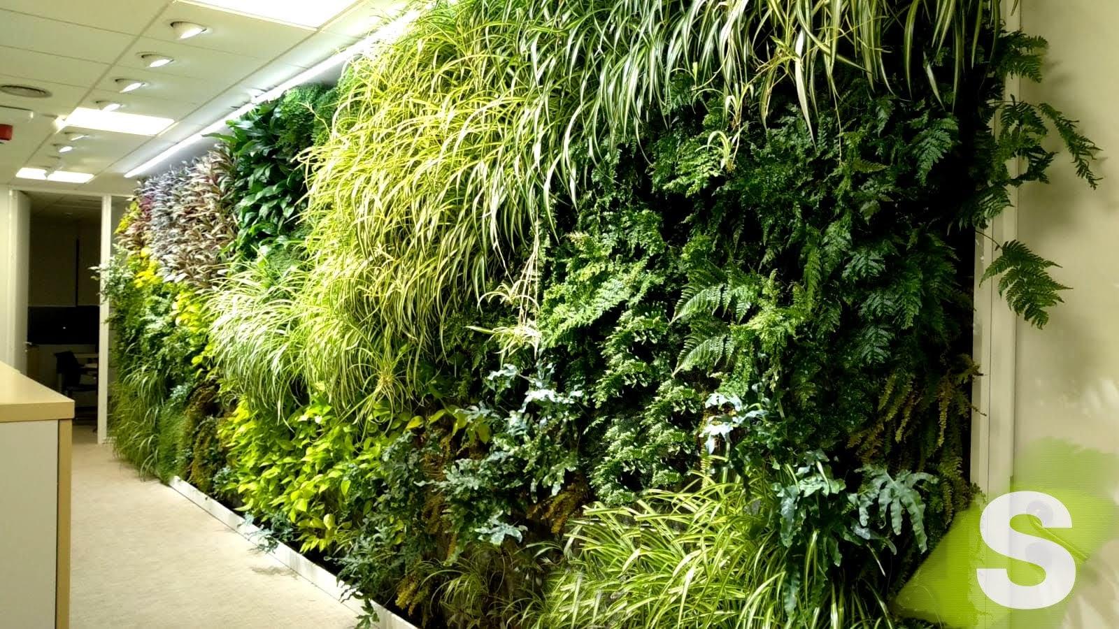 Jardín vertical en el interior de unas oficinas