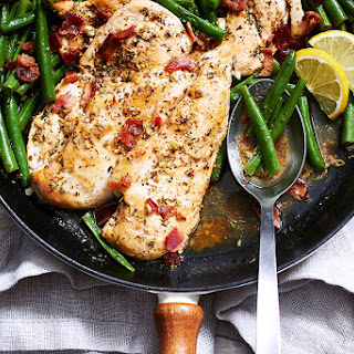 Garlic Lemon Chicken Breasts with Bacon Green Beans.