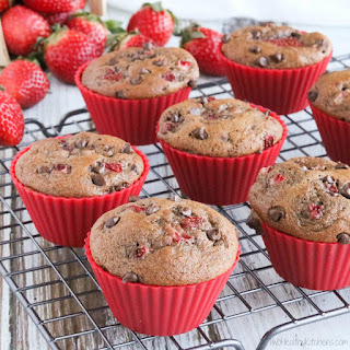 Healthy Double Chocolate Muffins with Fresh Strawberries.