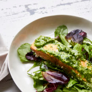 Herbed Salmon Over a Soft Green Herby Salad Recipe