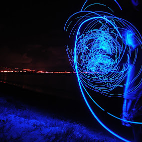 Happy 4/20 by Benjamin Salazar - Abstract Light Painting ( blue, night, beach, painting, light,  )
